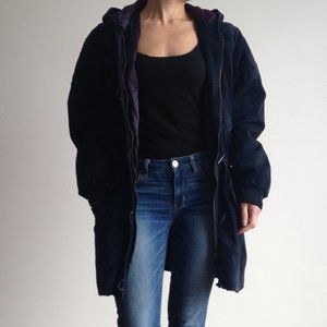 Navy Blue Suede Leather Coat With Hood
